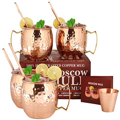 (Moscow Mule Copper Mugs - Set of 4-100% HANDCRAFTED Food Safe Pure Solid Copper Mugs - 16 oz Gift Set with BONUS: Highest Quality 4 Cocktail Copper Straws and 1 Shot Glass with Recipe Booklet!)