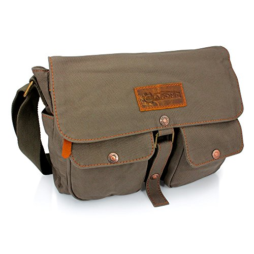 GEARONIC TM Men's Vintage Canvas Leather Tote Satchel School Military Shoulder Messenger Sling Crossbody Hiking Bag Backpack For Toiletry Gym Travel Work Laptop Green