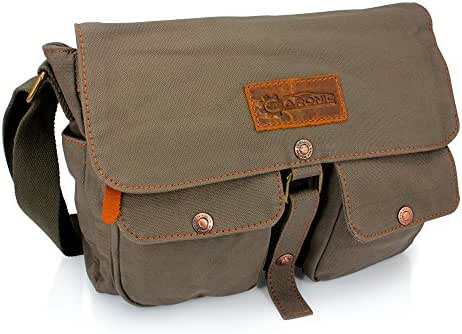 GEARONIC Men's Vintage Canvas Satchel School Military Shoulder Messenger Crossbody Bag