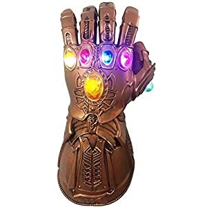 Infinity War Thanos Gauntlet, LED Light PVC Thanos Infinity Gloves Cosplay Props for Halloween Carnival Party