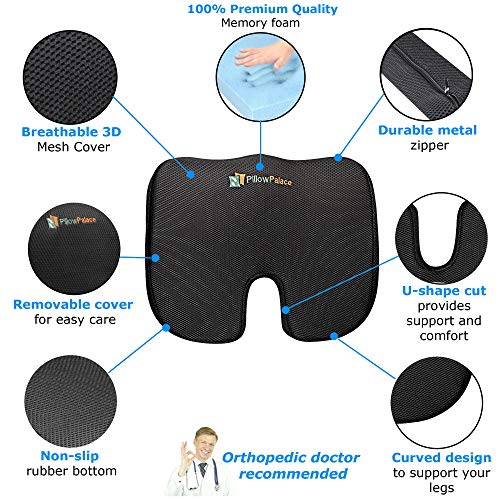 pillow palace   Coccyx Orthopedic Seat Cushion   Memory Foam Chair Pillow   Relieves Back, Tailbone, Sciatica Nerve Pain   Premium Comfort For Home, Office, Car or Event Seating by pillow palace (Image #1)