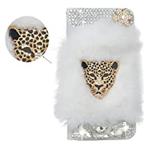 Spritech(TM) Bling Rhinestone Diamond Leopard Design PU Leather Wallet Case Luxury Soft Beaver Rabbit Fur Hair Decor Wallet Purse Card Pouch Stand Case Cover for LG G3 Mini