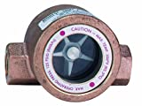 Dwyer MIDWEST Series SFI-100 Sight Flow Indicator, Single Window, Bronze Body, ABS Impeller, 1/2'' Female NPT Connections, 4'' Length x 2.250'' Depth x 2.563'' Height