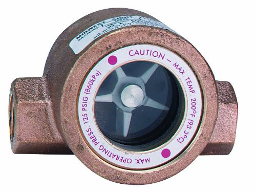 Dwyer MIDWEST Series SFI-100 Sight Flow Indicator, Single Window, Bronze Body, 316 Stainless Steel Impeller, 1'' Female NPT Connections, PTFE Gasket, 5.688'' Length x 3.250'' Depth x 3.625'' Height