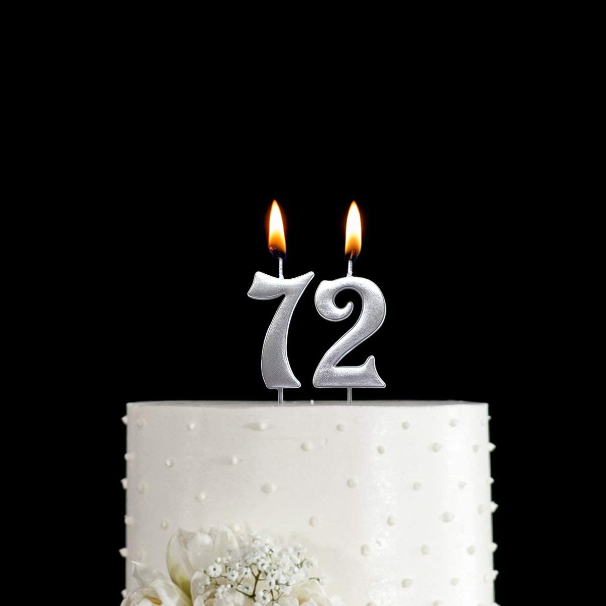 MAGJUCHE Silver 72nd Birthday Numeral Candle Number 72 Cake Topper Candles Party Decoration for Women or Men