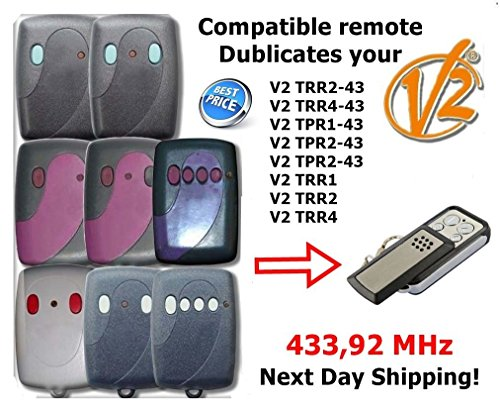 Remote Control Replacement V2 CLONE remote TPR1-43, V2 TPR2-43, V2 TPR2-43, V2 TRR1, V2 TRR2, V2 TRR4, V2 TRR2-4 FIXED CODE 433,92Mhz fixed code, best price in 2018