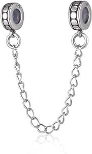 Abalorio de cadena de seguridad 925 con tapón espaciadores para pulsera de estilo europeo
