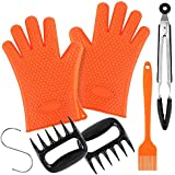 Silicone BBQ Gloves Set-2 Heat Resistant Grill Gloves Oven Mitts,2 Meat Shredder Claws,Kitchen Tong,Silicone Basting Brush and S Hook,Super Value of Grill Accessories for Cooking Grilling Baking