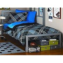 Full or Twin Bed Black or Silver Metal Frame Kids Bedroom Dorm Under Loft Beds (Silver, Twin)