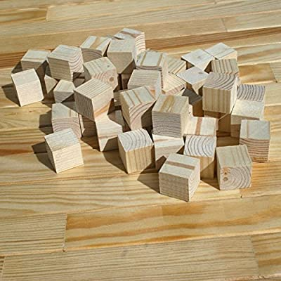 Supla 1inch Natural Unfinished Craft Wood Blocks Wood Cubes for DIY Craft Gifts
