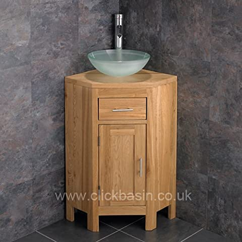 Clickbasin Solid Oak Corner Vanity Unit From Our Alta Range With Circular Glass Basin by Clickbasin - Solid Oak Range