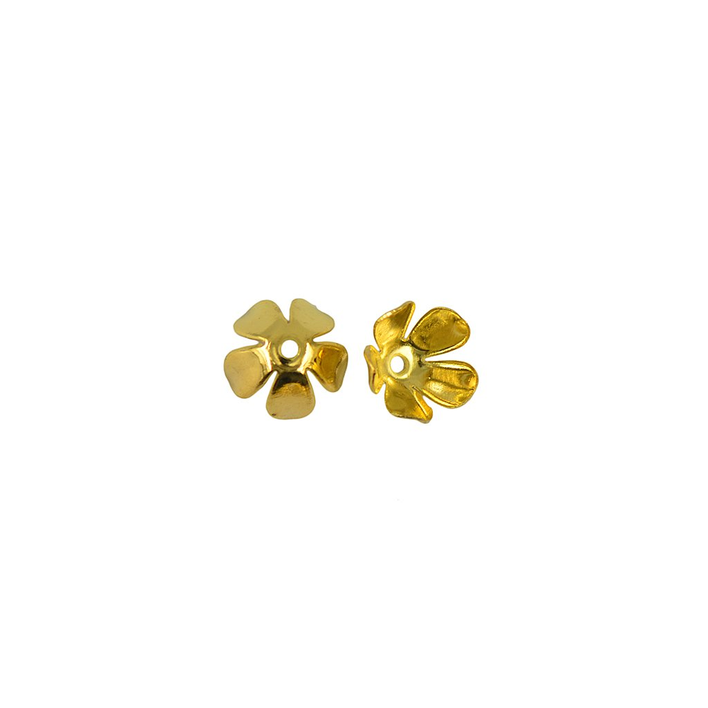 dailymall 50Pcs 8 Mm Gold Filled 3D Metal Flower Spacer Bead Caps DIY Jewelry Making