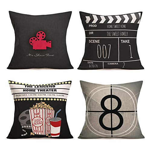 SmilyardMovie Theater Pillow Covers VintageCinema Poster Design Decorative Pillow Covers withOld Fashioned Icons Cushion Cover Home Decor Pillowcase 18x18 Inch, Set of 4 (Cinema Set)