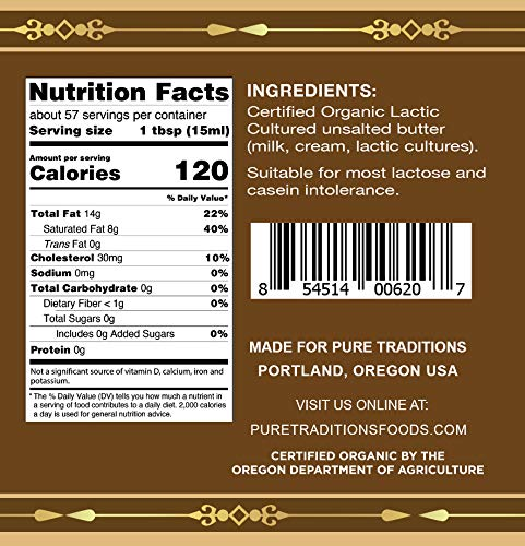 Organic Paleo Cultured Brown Butter Ghee, Grass Fed, Casein and Lactose Free (29 oz) by Pure Traditions (Image #2)