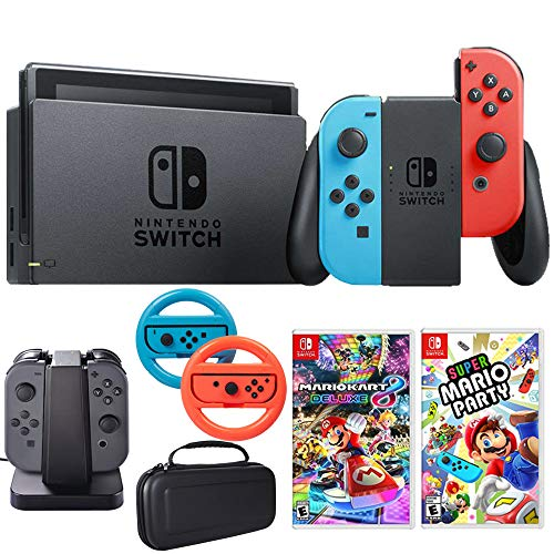 Nintendo Switch 32 GB Console with Neon Blue & Red Joy-Con (HACSKABAA) Super Mario Party + Kart 8 Deluxe for Switch + Steering Wheel Switch + Charging Dock + Carrying Case (Mario Shell Kart Blue 8)