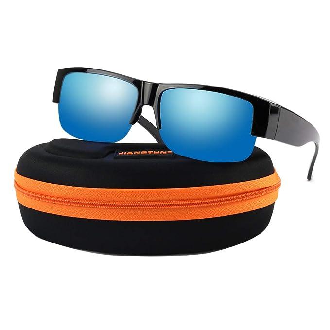 c1cb2178340 Polarized Over Glasses Sunglasses - HD Vision Durable Half Frame Fit Over  Prescription Sun Glasses