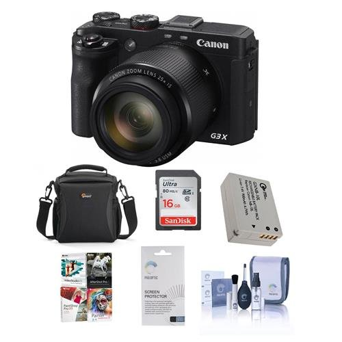 Canon PowerShot G3-X Compact Digital Camera - Bundle with Camera Case, Spare Battery, 16GB Class 10 SDHC Card, Cleaning Kit, Screen Protector, Pro Software Package