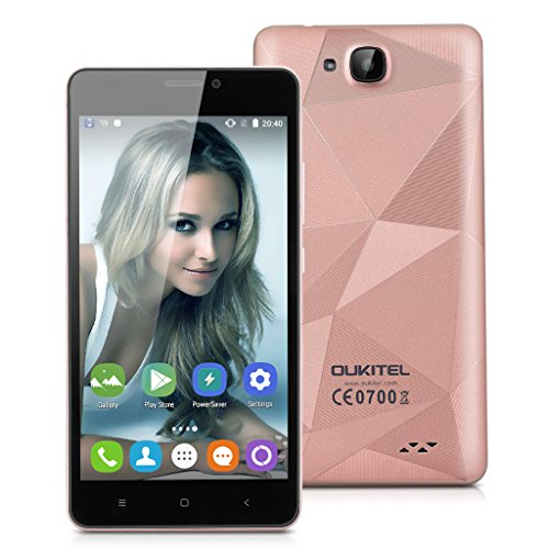 OUKITEL C3 5.0 Zoll 3G Smartphone Android 6.0 Quad Core Multi-Touch Bildschirm Dual SIM 8MP+2MP Dual Kamera 8GB ROM WIFI Rose Gold