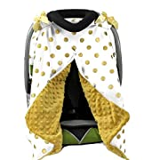 Onyx Arrow Carseat Canopy, White Gold Metallic Dot Cotton Print, Gold Minky Dot, Mix and Match