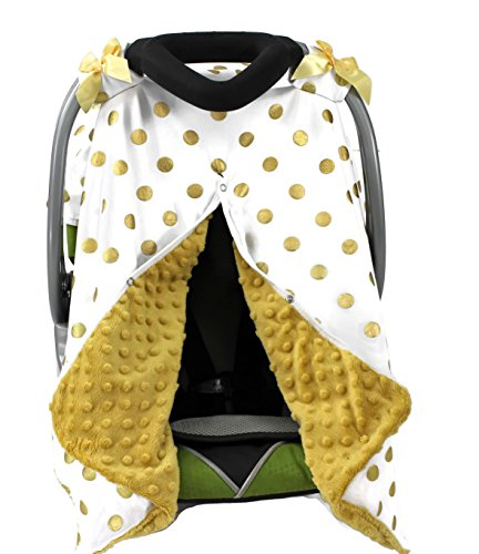 Onyx Arrow Carseat Canopy, White Gold Metallic Dot Cotton Print, Gold Minky Dot, Mix and ()