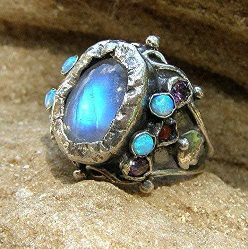 Women Rings Chakra Zirconia Rainbow Gemstone Phalanges Engagement Fancy