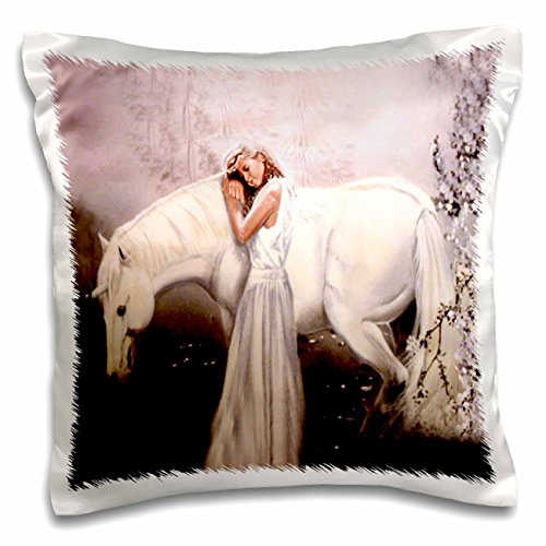 3dRose pc_872_1 Girl with Unicorn-Pillow Case, 16 by 16