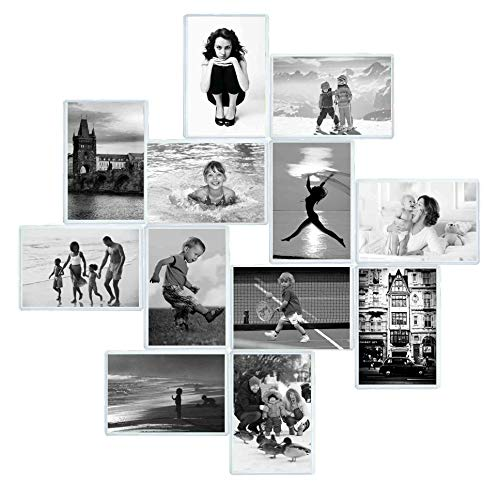 Magnetic Photo Pocket Frame, Holds 4 x 6 Inches Photo for Refrigerator, Picture Frames with Double-Sided Adhesive for Wall, Kitchen, Locker, or File (White Photo Wall Calendar)