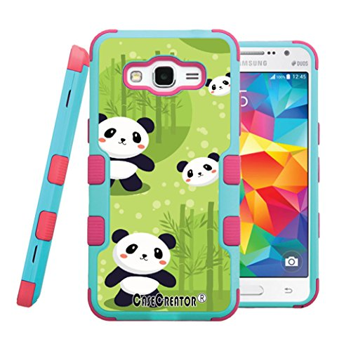 - Galaxy E5 Case, CASECREATOR[TM] For Samsung Galaxy E5 / SM-E500M (Straight Talk)~NATURAL TUFF Hybrid Rubber Hard Case Pink Teal Blue-Panda with Bamboo