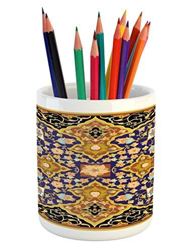 Lunarable Arabian Pencil Pen Holder, Arabic Floral Mosaic Patterns South Eastern Antique Oriental Ottoman Artwork Print, Printed Ceramic Pencil Pen Holder for Desk Office Accessory, Multicolor by Lunarable