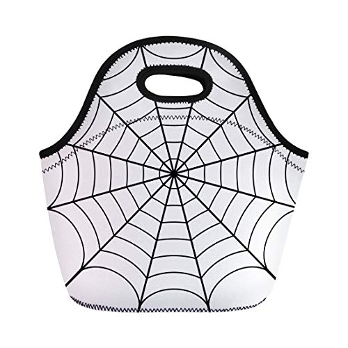 Semtomn Lunch Tote Bag Spider of Cobweb Spiderweb Halloween Net Haloween Pattern Network Reusable Neoprene Insulated Thermal Outdoor Picnic Lunchbox for Men -
