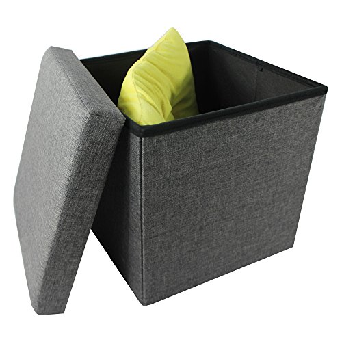 Achim Home Furnishings OTLN15GY04 Collapsible Storage Ottoman, Grey Linen, 15