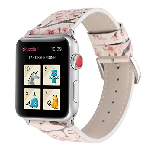 YJYdada Fashion Plum Blossom Leather Strap Replacement Watch Band for Apple Watch 42mm (White)