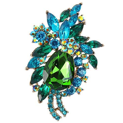 - EVER FAITH Women's Rhinestone Crystal Vintage Style Flower Teardrop Brooch Pendant Green Gold-Tone