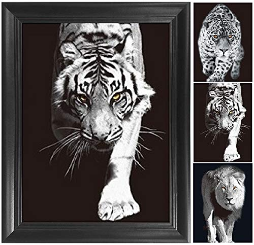Lion, Tiger and Leopard 3D Poster Wall Art Decor Framed Print | 14.5x18.5 | Lenticular Posters & Pictures | Memorabilia Gifts for Guys & Girls Bedroom | Wild Black & White Jungle Cat Home Decorations