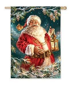 "Christmas Traditions Festive Enchanted Santa Claus Holiday Flag 18"" x 12.5"""