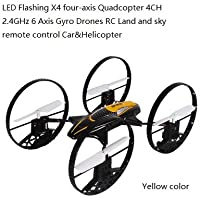SYR-LED Flashing four-axis 4CH 2.4GHz 6-Axis Gyro RC Quadcopter 4-in-1 Flying Car Remote Control Drone 360 degree roll Helicopter- Yellow