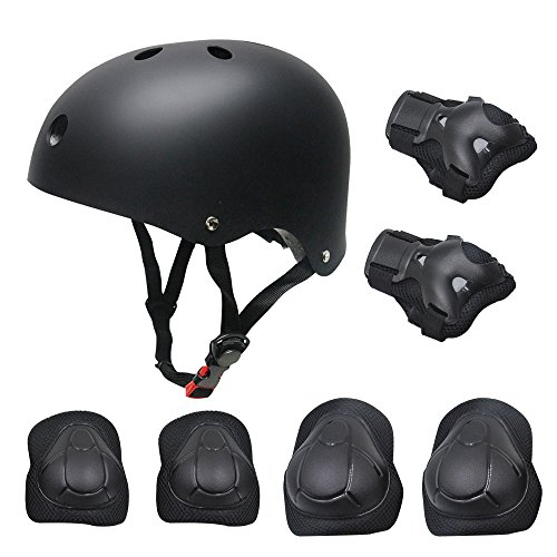 Kid's Protective Gear Set,Roller Skating Skateboard BMX Scooter Cycling Protective Gear Pads (Knee Pads+Elbow Pads+Wrist Pads+Helmet)-7 Pcs(Black)