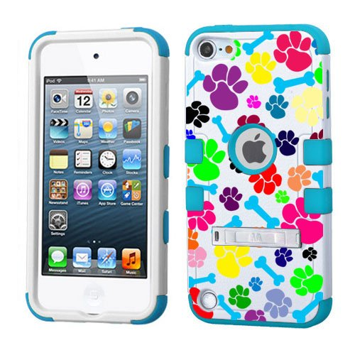 Print Ipod Touch Case - PHONETATOOS iPod Touch 5th 6th Generation Case - Hard Shell Case Compatible with Apple - Shockproof Hybrid 5/6 Cover with Stand for Boys and Girls (Animal Footprints with Bones Blue)