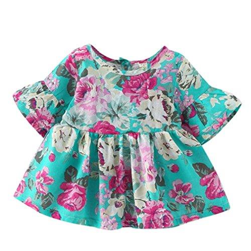 Tefamore Kleinkind Kinder Baby Mädchen Kurzarm Blume Kleidung Party Prinzessin Kleider Grün