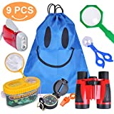 Meland Kid Explorer Kit - 9 Pieces Kids Adventure Kit - Binoculars, Flashlight, Compass, Magnifying Glass, Insect Clamp and More - Outdoor Exploration Kit Gift Set for Boys Girls Hiking Camping