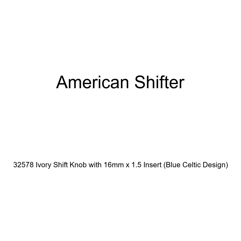 American Shifter 32578 Ivory Shift Knob with 16mm x 1.5 Insert Blue Celtic Design