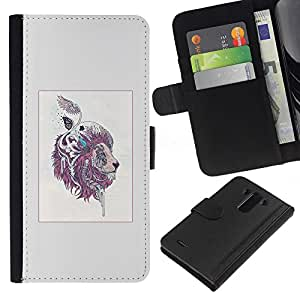 LECELL--Cuero de la tarjeta la carpeta del tirón Smartphone Slots Protección Holder For LG G3 -- Patrón León colorido Majestic --