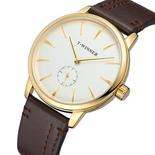Bestn Watch Men's Manual Mechanical Watch Minimalist Analog Casual Wrist Watches with PU Leather Band Analog Mechanical Casual Watch