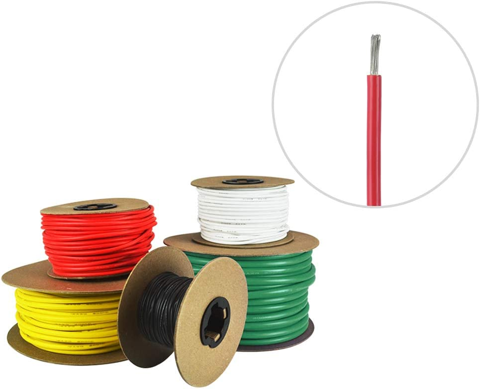 12 AWG Marine Wire -Tinned Copper Primary Boat Cable - Available in Black, Red, Yellow, Green, and White - Made in The USA- Made in The USA : Sports & Outdoors