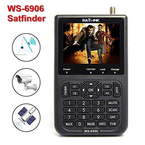 SATlink WS-6906 Satellite Signal Finder, Digital Sat Finder Detector Searcher with 3.5' LCD, Directv Meter for TV, DVB-S/S2 HD DVB-S2 FTA LNB, Built-in 3000mAH Battery