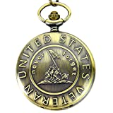 Engraved Never Forget United States Veteran Pocket Quartz Men's Watch with Chain