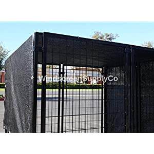 FenceSmart4U 6' X 12' Black UV Rated Dog Kennel Shade Cover, Sunblock Shade Panel, Shade Tarp Panel W/Grommets (Not the kennel) 40