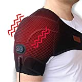CREATRILL Massaging Heated Shoulder Wrap Brace, Shoulder Heat Therapy Wrap Heating Pad for Muscle Pain Relief, Frozen Shoulder, Bursitis, Tendonitis, Rotator Cuff