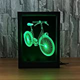 LPY-3D Illusion Optic Lamps LED Night Light Bicycle Photo Frame Creative Gift Visual Lighting With 7 Colors Change with Smart Touch