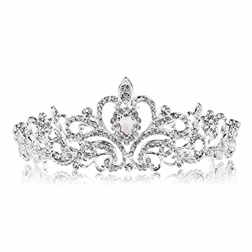 Binglinghua Bridal Princess Austrian Stunning Crystal Hair Tiara Wedding Crown Veil Headband